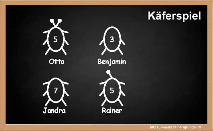 "Ergebnis des Kegelspiels ""Käferspiel"""
